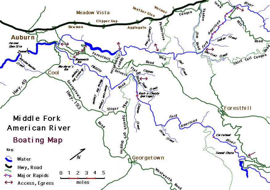 American river map for Lake clementine fishing